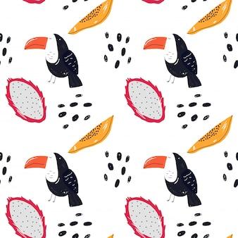 Padrão de frutas e tucano