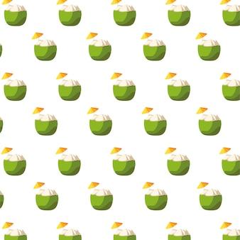 Padrão de frutas frescas coquetéis de coco
