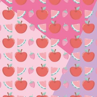Padrão de frutas frescas e tropicais