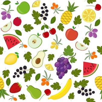 Padrão de frutas, ilustração vetorial isolada em um fundo branco