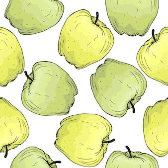Padrão de frutas maçã verde e amarela desenhada à mão