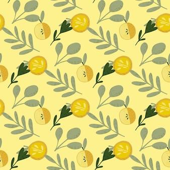Padrão de frutas sem costura de verão com maçãs amarelas e folhas cinza