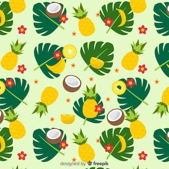 Padrão de frutas tropicais coloridas