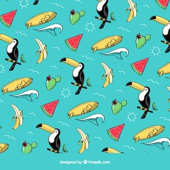 Padrão de frutas tropicais com tucanos