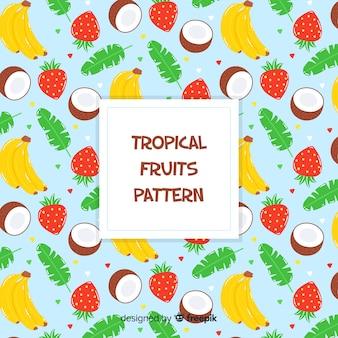 Padrão de frutas tropicais de mão desenhada