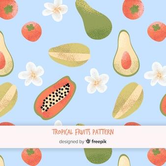 Padrão de frutas tropicais plana