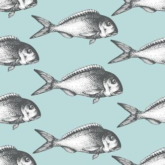 Padrão de frutos do mar esboço mão desenhada com peixe. ilustração de dorado retrô