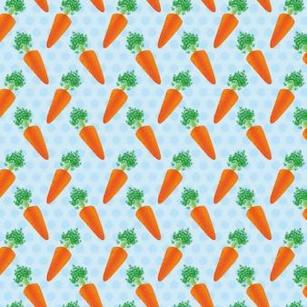 Padrão de fundo de cenouras de ilustração vetorial de pontos azuis
