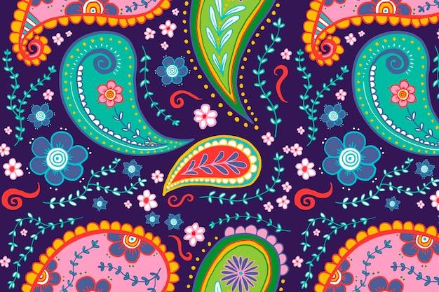 Padrão de fundo de paisley, vetor de ilustração de mandala colorida