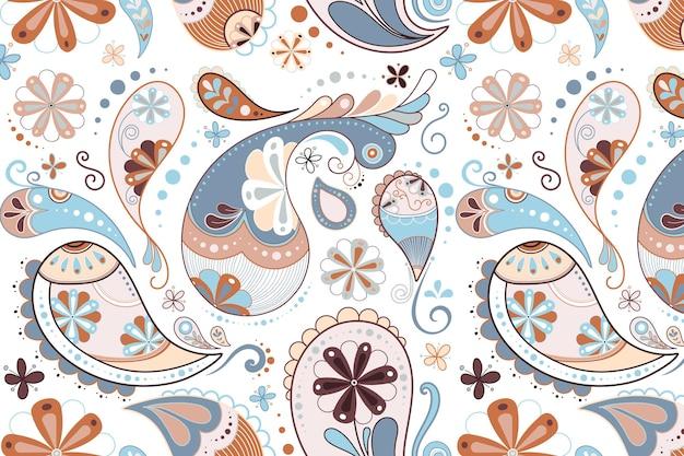 Padrão de fundo de paisley, vetor de ilustração decorativa fofa azul