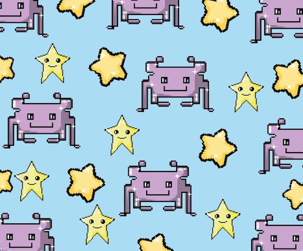Padrão de fundo de videogame pixel art