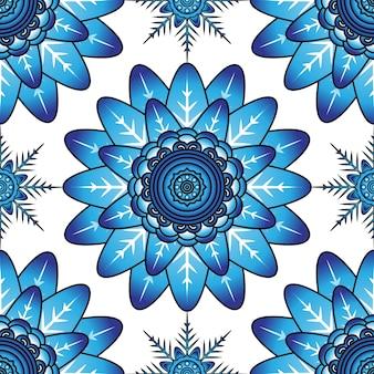 Padrão de fundo floral ornamental sem costura azul