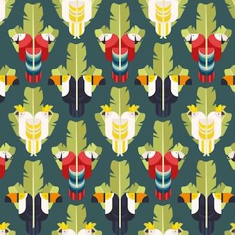 Padrão de fundo sem costura com pássaros tropicais. parrot, toucan, ilustração geométrica de cockatoo vector.