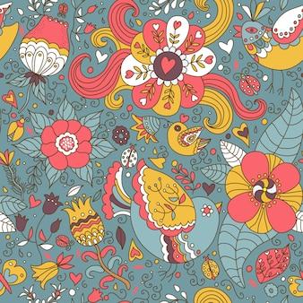 Padrão de fundo sem costura retrô decorativo com desenho de contorno de flores e pássaros.
