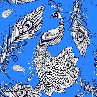 Padrão de fundo sem emenda de penas de pássaro pavão
