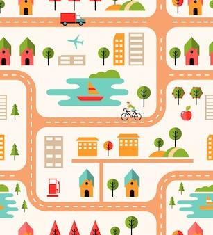 Padrão de fundo sem emenda do mapa da cidade com ruas