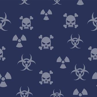 Padrão de fundo sinal de radiação sinal de risco biológico estampas da moda de sinais tóxicos fundo azul