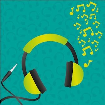 Padrão de fundo verde de fones de ouvido