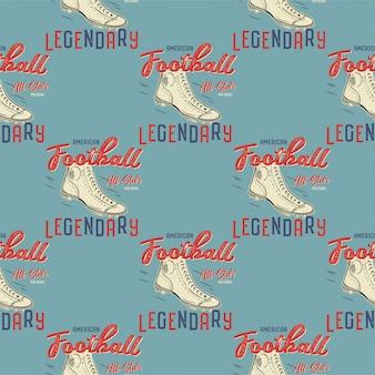 Padrão de futebol americano retrô. gráfico sem emenda do rugby da faculdade em estilo retro com botas velhas e citação - lendário. impressão de esportes em um fundo azul.
