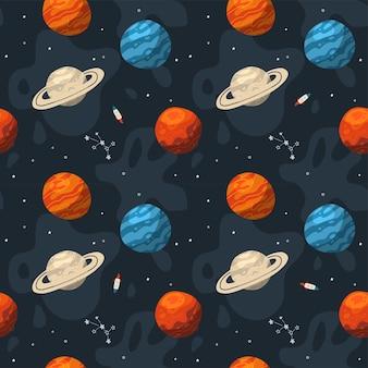 Padrão de galáxia sem costura com constelações e planetas
