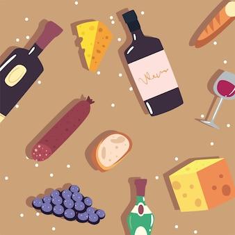 Padrão de garrafas de vinho, copos e comida