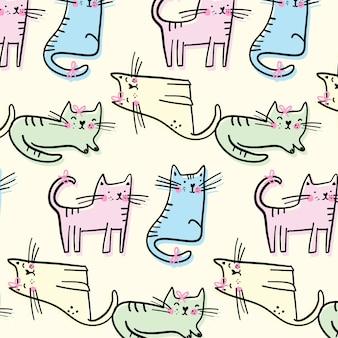 Padrão de gatinho fofo desenhado a mão