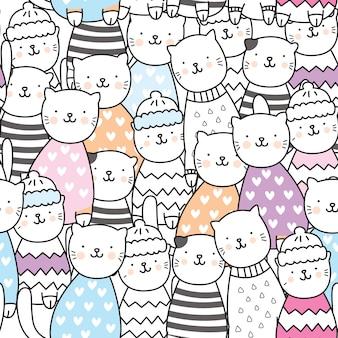 Padrão de gato bonito dos desenhos animados
