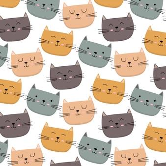 Padrão de gato colorido bonito