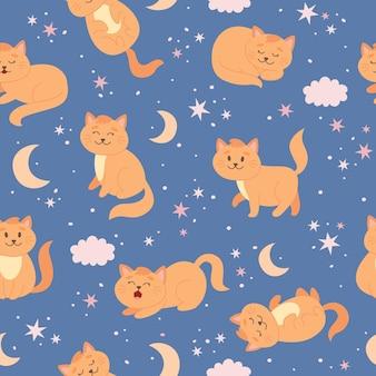 Padrão de gato com estrelas da lua e nuvens personagem de gato ruivo bonito em estilo desenho animado