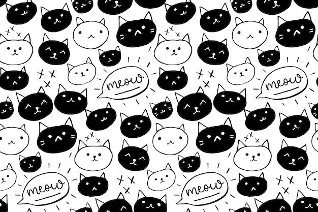 Padrão de gato plano de fundo transparente com gatos desenhados à mão em preto e branco e palavra de miau.