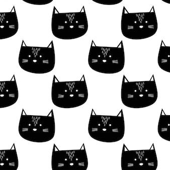 Padrão de gato preto bonito