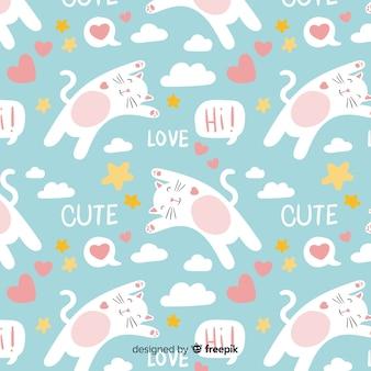 Padrão de gatos e palavras de mão desenhada