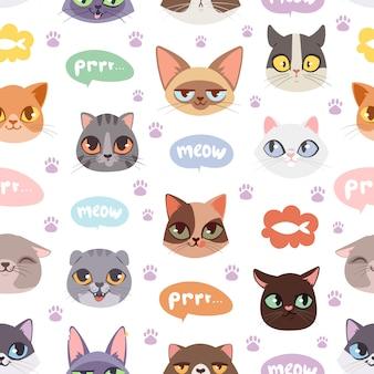 Padrão de gatos sem costura hipster