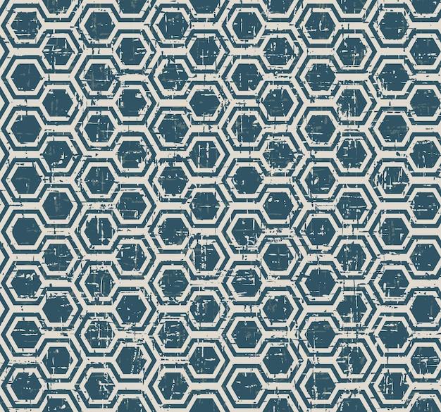 Padrão de geometria de polígono azul desgastado vintage sem costura