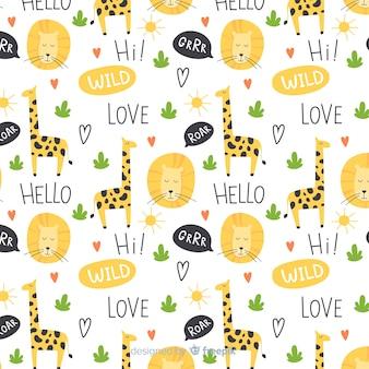 Padrão de girafas e palavras coloridas doodle