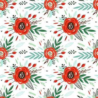 Padrão de giro com pequena flor vermelha. pequenas flores coloridas.
