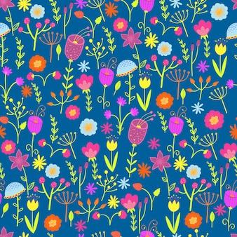Padrão de giro com pequenas flores coloridas.