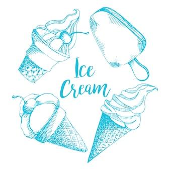 Padrão de giro de mão desenhada com diferentes tipos de sorvete.