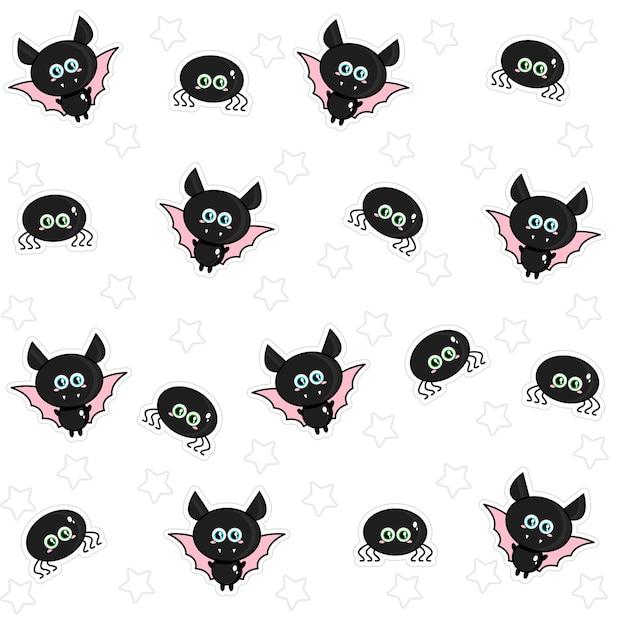 Padrão de giros tipos de aranhas e morcegos para o dia das bruxas. ilustração vetorial