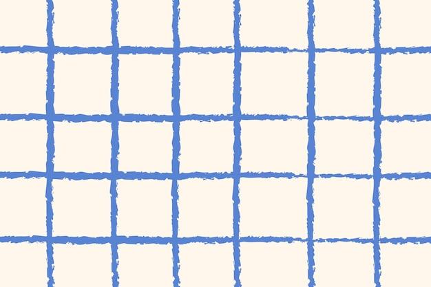 Padrão de grade de fundo azul doodle vetor, design simples