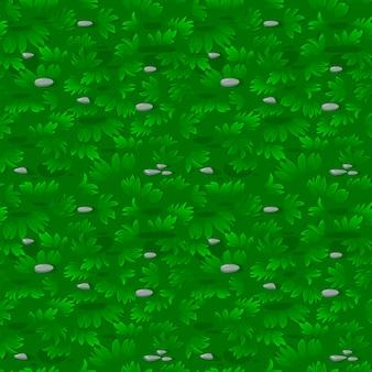 Padrão de grama verde texturizado sem costura com pedras. repetição de fundo de gramado ou prado.