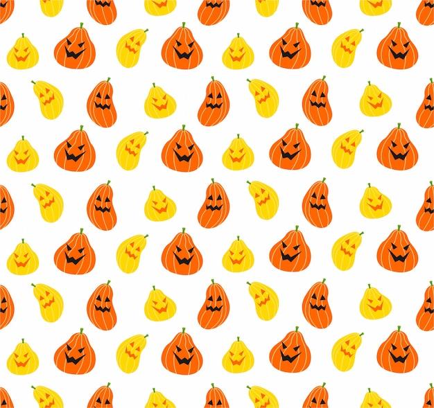 Padrão de halloween abóbora sem emenda no fundo branco