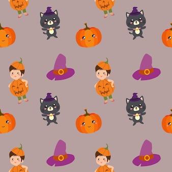 Padrão de halloween com abóbora crianças e gato