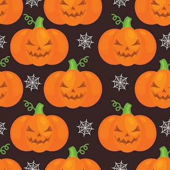 Padrão de halloween com abóboras, web em fundo preto