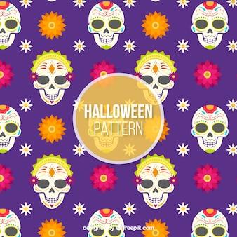 Padrão de halloween com caveiras mexicanas