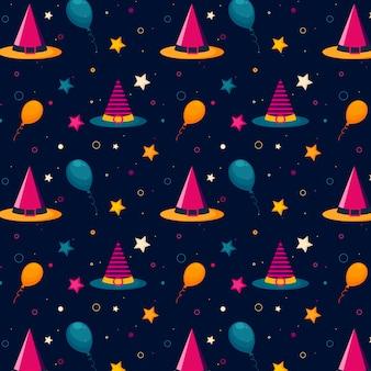 Padrão de halloween com chapéus bruxas, balões e estrelas