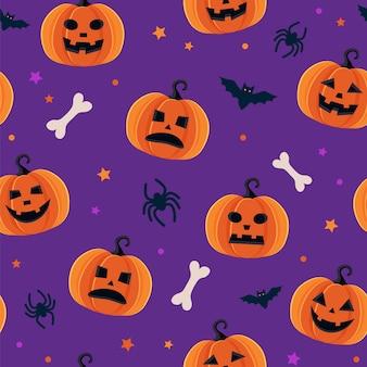 Padrão de halloween com diferentes abóboras, jack o lantern assustador, aranhas e morcegos