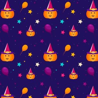 Padrão de halloween com estrelas, balões, abóbora, chapéu de bruxa