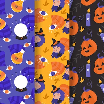 Padrão de halloween de design plano