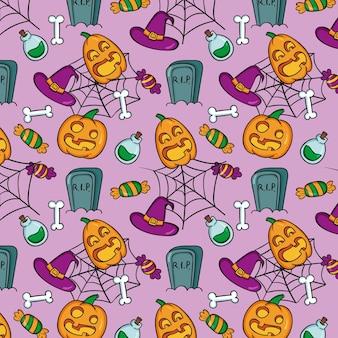 Padrão de halloween desenhado à mão